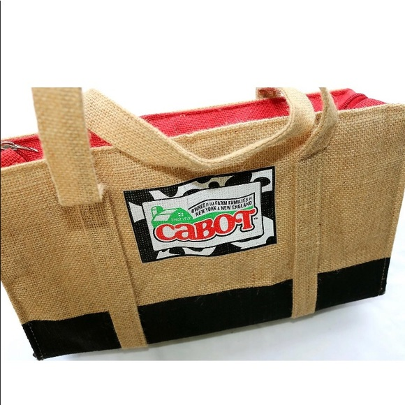 Cabot Dairies Handbags - Cabot Burlap & Buffalo Plaid Lined, Insulated Tote